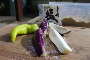 Eggplant cut in 4 and lightlyrubbed in sea salt